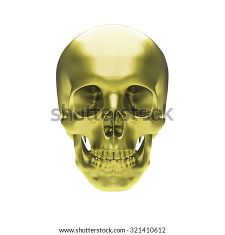 Gold metallic skull on white background - stock photo