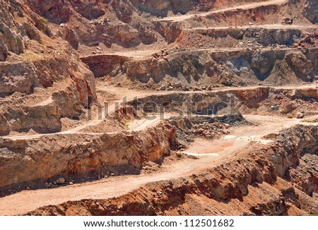Gold mine open caste. Background of industrial landscape on the open pit. Opencast textured land. - stock photo