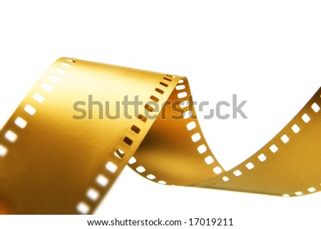 Gold 35 mm film isolated over white background - stock photo