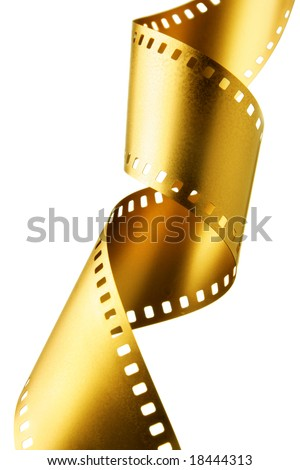 Gold 35 mm film strip isolated over white background - stock photo