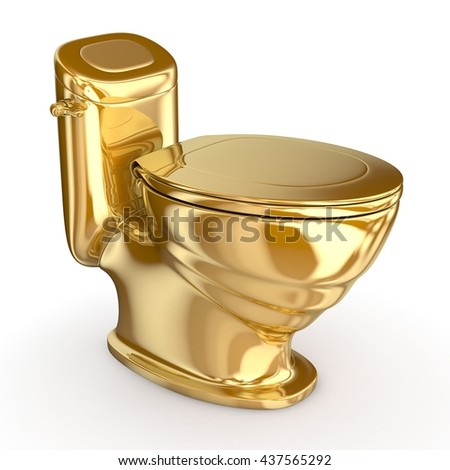gold toilet. Gold modern toilet  3d illustration Isolated on white Toilet Stock Images Royalty Free Vectors Shutterstock