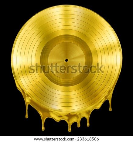 gold molten or melted record music disc award isolated on black - stock photo
