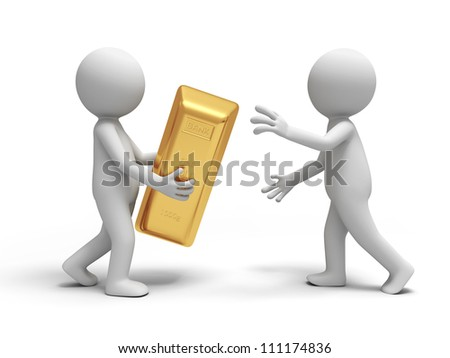 Gold/money/A people give a gold brick to the other - stock photo