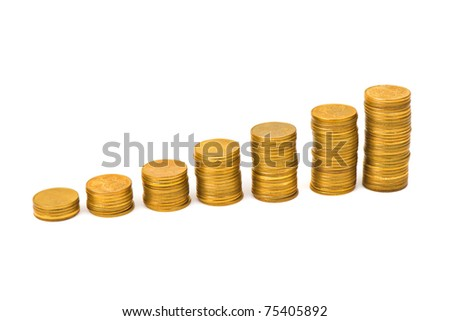 Gold money staircase isolated on white background - stock photo