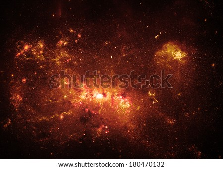 Gold Nebulae - Elements of this Image Furnished by NASA - stock photo