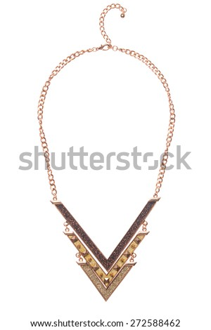 gold necklace on a white background - stock photo