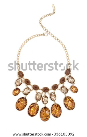 gold necklace with gems isolated on white - stock photo
