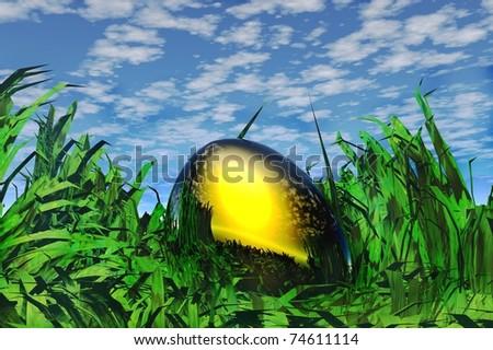 gold nest egg in long grass render image - stock photo
