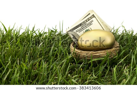 Gold nest egg on grass with a blue sky. - stock photo