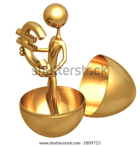 Gold Nest Egg Open With Euro Inside - stock photo