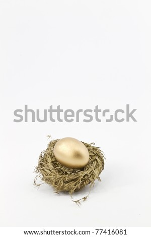 Gold nest holds golden egg of hopes and dreams.  Copy space above.