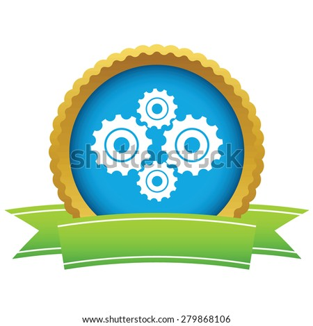Gold new mechanism logo on a white background - stock photo