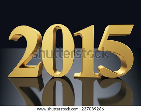Gold 2015 new year 3d rendered image  - stock photo