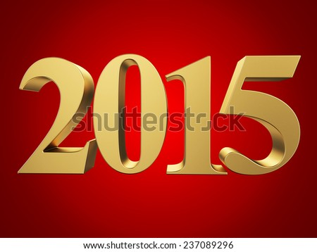 Gold 2015 new year on a red background. 3d rendered image  - stock photo