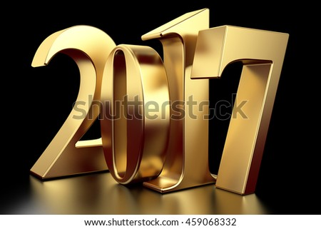 Gold 2017 new year on black background. 3d rendered image - stock photo