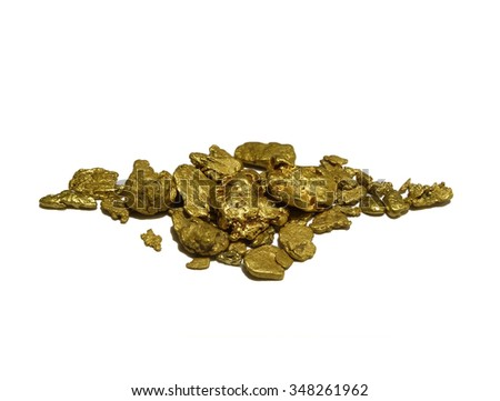 Gold Nuggets. Authentic gold nuggets from Western Australia. Conceptual symbol for wealth, treasure, investment, prospecting, natural elements, resources and more. - stock photo