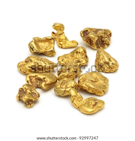 Gold nuggets white background - stock photo
