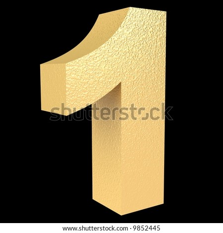gold number one on a black background