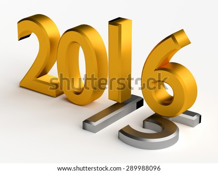 Gold numbers of New Year 2016 over grey old 2015 - stock photo