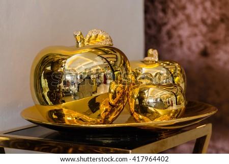 gold of apple ,interior - stock photo