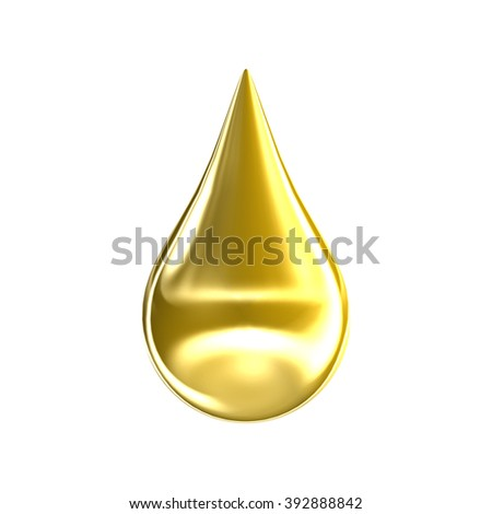 Gold oil drop isolated on white background - stock photo