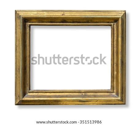 Gold old grunge frame isolated on white background - stock photo
