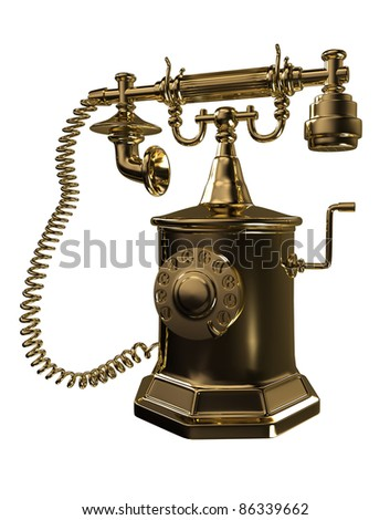 Gold old phone - stock photo