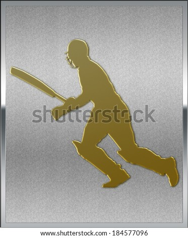 Gold on Silver Cricket Batsman Running Sport Emblem or Medal