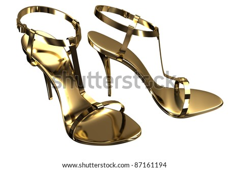 Gold open-toe sandals - stock photo