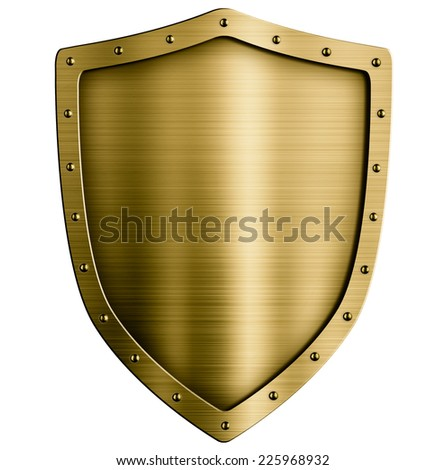 Gold or bronze metal medieval shield isolated - stock photo
