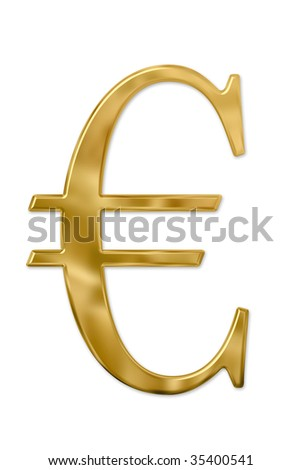 Gold or golden euro sign. Isolated on white. Clipping path included. - stock photo