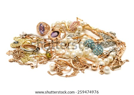Gold ornaments isolated on white background - stock photo