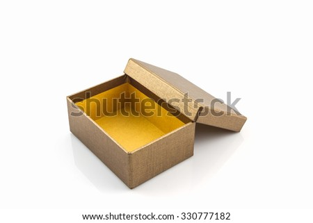 Gold paper box on white background with clipping path.