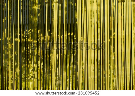 Gold paper horizontal ribbon - stock photo