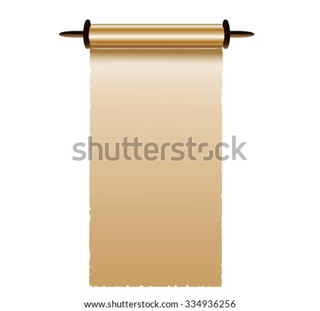Gold paper scroll on white - stock photo