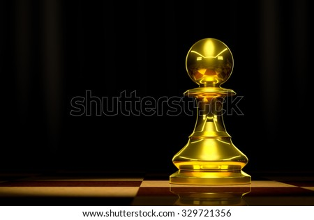 Gold Pawn on chessboard background luxury. - stock photo