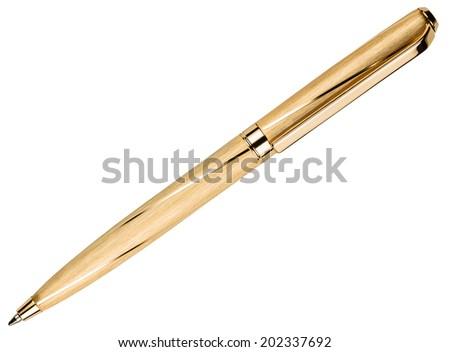gold pen isolated on white background - stock photo