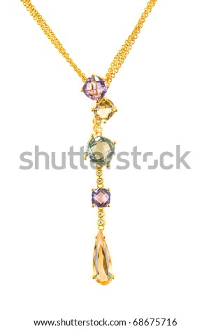 gold pendant with gems isolated on a white - stock photo