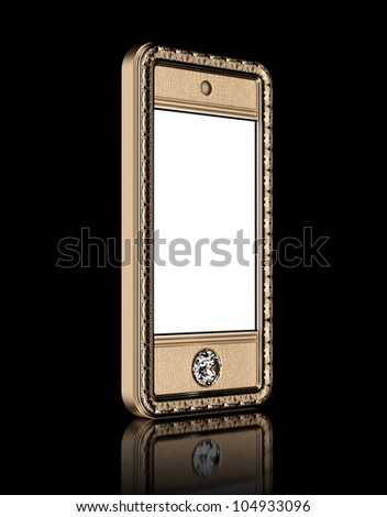 Gold phone with  blank touch screen and the diamond button for VIP  isolated on black background (perspective version) - stock photo