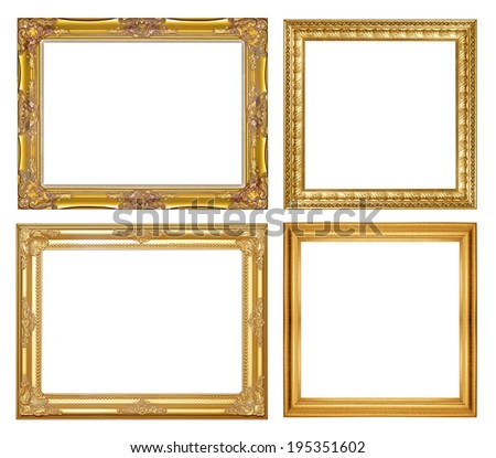 gold picture frame isolate on white back ground - stock photo