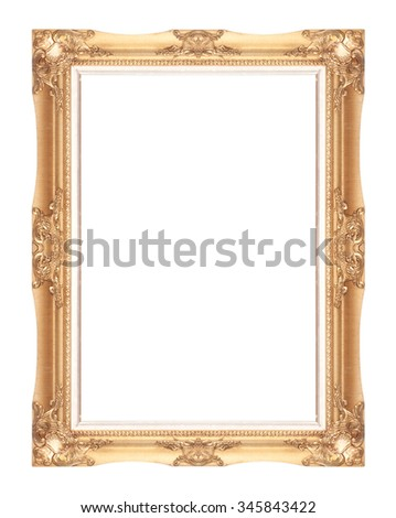 gold picture frame isolated on a white background. - stock photo