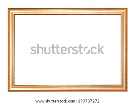 Gold picture Frame Isolated on White Background - stock photo