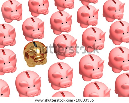 Gold pig coin box, worth in a rows of usual coin boxes. Objects over white - stock photo