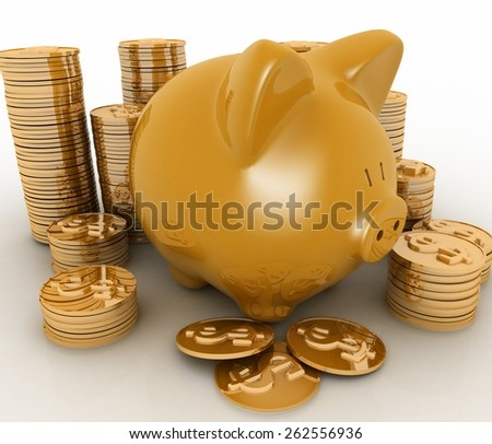 Gold piggy bank and money tower - stock photo
