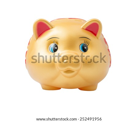 Gold Piggy Bank (Front View) isolated on white background with clipping path for Chinese New Year - stock photo