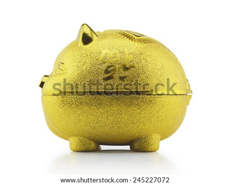 Gold piggy bank side view on white background with clipping path - stock photo
