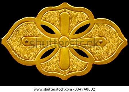 gold plate decorate on Buddha cabinet - stock photo