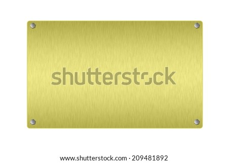 Gold plate on white background