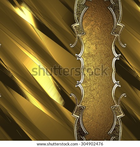 Gold plate with gold trim on yellow grunge background. Element for design. Template for design. copy space for ad brochure or announcement invitation, abstract background