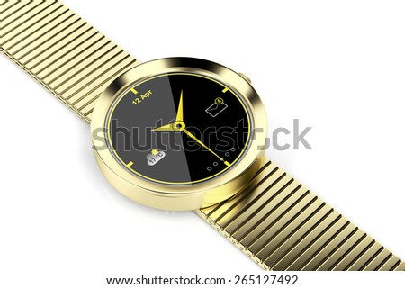 Gold plated smart watch on shiny white background - stock photo